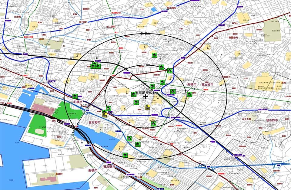 習志野市奏の杜の診療圏マップ例
