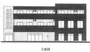 高柳駅西口ロータリー隣接のテナント物件の立面図